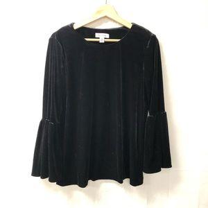 Calvin Klein Black velvet boho bell sleeve blouse